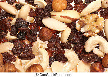 fruit and nuts abstract background