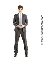 smart asian Businessman standing on white background