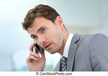 Businessman having a phonecall in building hallway