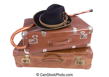 Vintage suitcase with walking stick and hat - Two vintage...