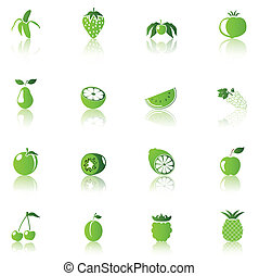 bio food - 16 Fruit Icons, green on white