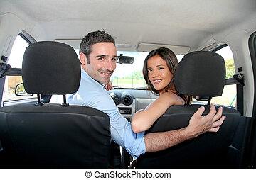 vista, Conductores, trasero, coche