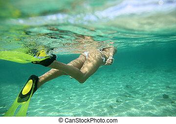 Closeup on snorkeler flippers underwater