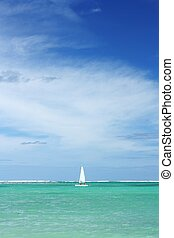Sailboat, ocean and sky