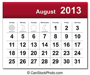 August 2013 calendar - EPS10 file August 2013 calendar The...