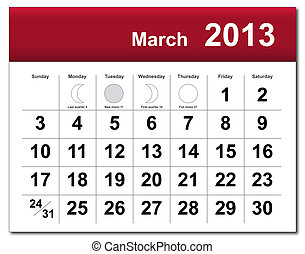 March 2013 calendar - EPS10 file. March 2013 calendar. The...
