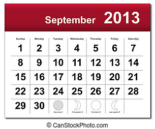 September 2013 calendar - EPS10 file. September 2013...