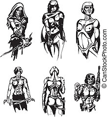 Amazon Cyborgs Set of black and white vector illustrations