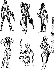 Amazon Cyborgs. Set of black and white vector illustrations.