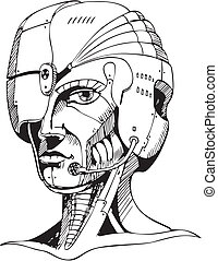 Head of cyborg woman. Black and white vector illustration.