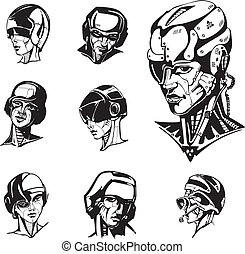 Heads of cyborg women Set of black and white vector...