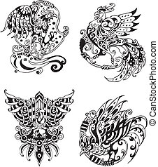 Stylized roosters. Set of black and white vector...