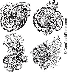 Stylized roosters Set of black and white vector...