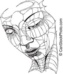 Wireframe Woman Face Black and white vector illustration