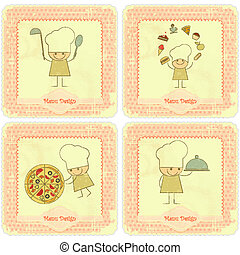 Vintage Set of Menu Card Designs with chefs - Vintage Set of...