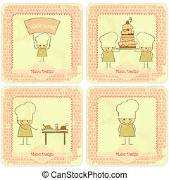 Vintage Set of kids menu Card Designs with chefs - Vintage...