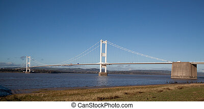 Old Severn Bridge connecting Wales and England across the...