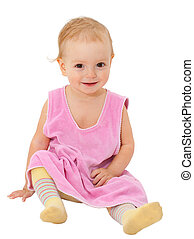 adorable one-year old baby sitting and smiling isolated on...