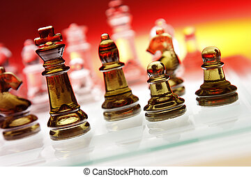 Chess - Game of glass chess pieces