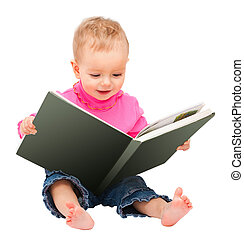 adorable one-year old baby reading a book. isolated on white...