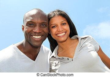 portrait, joyeux, couple