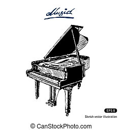 Grand piano Hand drawn vector isolated on white