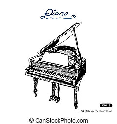 Grand piano. Hand drawn vector isolated on white