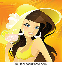 Girl in hat - Vector illustration of a girl in hat