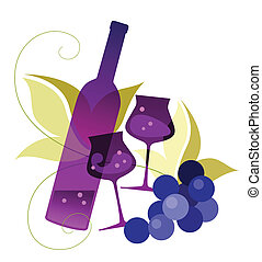 Bottle, wineglassses and grape - Vector illustration of a...