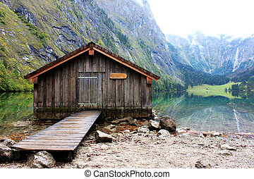 log cabin in Obersee,koenigssee, Be - Log cabin stand in the...