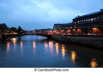 night view in Paris, Seine River - a romantic night view in...