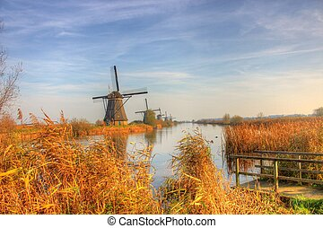 Windmill in Countryside kinderdijk - Countryside-style is a...