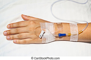 Medical intravenous cannula on hand - Medical intravenous...