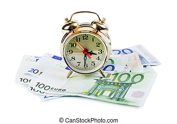 Alarm clock for euro banknotes isolated on white background...