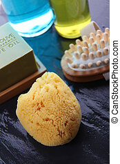 Closeup of bathing and massage accessories