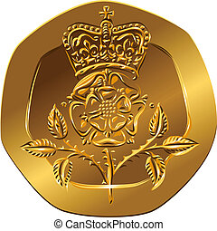 British money gold coin Reverse twenty pences with the image...