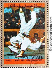 taxa postal, selo, Ajman, 1973, judo, Olímpico,...