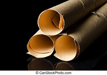 Many scrolls isolated on a black - Many ancient scrolls on a...