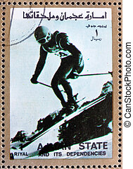 Postage stamp Ajman 1973 Downhill Skiing, Winter Olympics