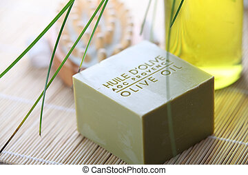 Closeup of olive oil soap bar