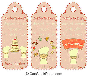 Confectionery labels in Retro style with Chefs and place for...