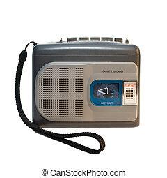 Recording pocket recorder.  Isolated on white background.