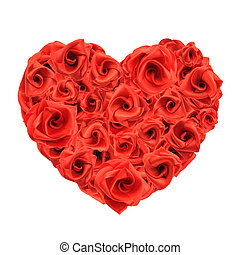 Love heart of roses - Red roses make a romantic love heart....