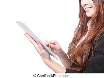 closup of business woman smile using tablet pc