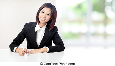 Business woman smile working at office - Young Business...