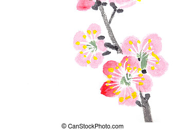 Chinese painting of flowers, plum blossom - Traditional...