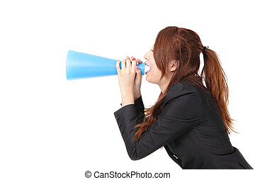excited business woman yelling through megaphone to empty...