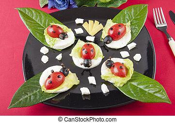 mozzarella ladybug - Ladybug with mozzarella and lettuce...