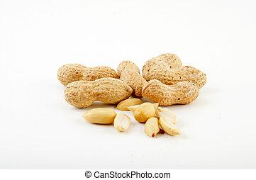 peanuts - noccioline intere sbucciate e su fondo bianco e...