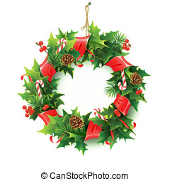 Christmas wreath. - Realistic %u0421hristmas wreath with fir...